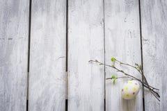 Uovo di Pasqua e ramoscelli con le giovani foglie sulle plance di legno rustiche Fotografia Stock Libera da Diritti