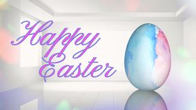 Uovo di Pasqua felice dell'acquerello nella stanza bianca 4K archivi video