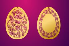 Uovo di Pasqua felice tagliato laser Uovo di Pasqua ornamentale dello stampino di vettore illustrazione vettoriale