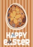 Uovo di Pasqua floreale arancione Immagine Stock