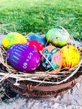Uovo di Pasqua variopinto con il fondo dell'erba verde Immagine Stock