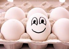 Uovo differente con il sorriso fotografie stock libere da diritti
