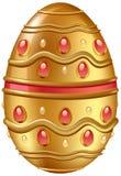 Uovo dorato decorato con i gioielli Fotografia Stock Libera da Diritti