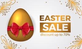 Uovo dorato di lusso costoso 3D con il nastro rosso per l'insegna di offerta di vendita di pasqua royalty illustrazione gratis