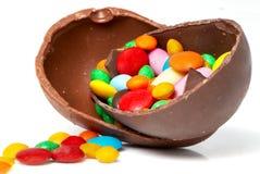 Uovo e dolci di cioccolato di Pasqua Fotografia Stock