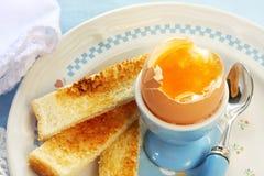Uovo e pane tostato bolliti Fotografie Stock Libere da Diritti