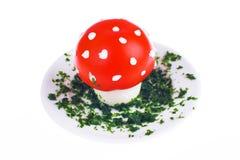 Uovo e pomodoro a forma di del fungo Immagine Stock Libera da Diritti
