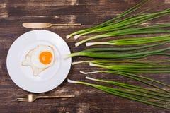 Uovo, erba cipollina, piatto, coltello e forcella Fotografia Stock Libera da Diritti