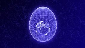 Uovo formato dalle linee e dai punti, con l'interno del pianeta Terra, animazione astratta illustrazione di stock