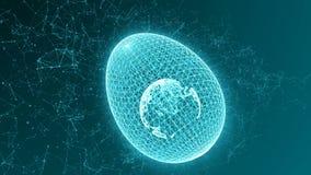 Uovo formato dalle linee e dai punti, con l'interno del pianeta Terra, animazione astratta royalty illustrazione gratis