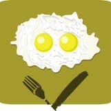 Uovo fritto del doppio con il fronte scontroso Fotografia Stock Libera da Diritti