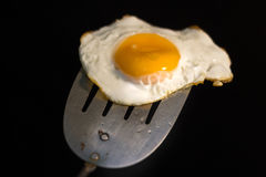 Uovo fritto e spatola fotografia stock