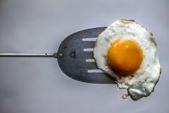 Uovo fritto e spatola fotografie stock libere da diritti