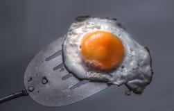 Uovo fritto e spatola immagini stock libere da diritti