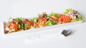 Uovo fritto, salsiccia piccanti di cinese e del bacon Immagini Stock