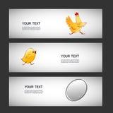 Uovo semplice dell'autoadesivo di vettore tre, pollo, pollo Fotografia Stock