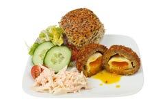 Uovo sodo/carne per salsiccia ed insalata Fotografie Stock Libere da Diritti