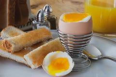 Uovo sodo con i soldati del pane tostato fotografie stock libere da diritti