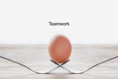 Uovo sulla forcella con lavoro di squadra del testo Fotografie Stock Libere da Diritti