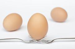 Uovo sulle forcelle e sui precedenti bianchi Fotografia Stock Libera da Diritti