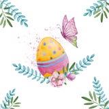 Uovo variopinto di pasqua dell'acquerello con la farfalla illustrazione di stock