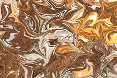 Upłynnia abstrakta wzór Z Brown, bielu I koloru żółtego grafika koloru forma sztuki, Cyfrowego tło Z Liquifying przepływem royalty ilustracja