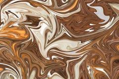 Upłynnia abstrakta wzór Z Brown, bielu I koloru żółtego grafika koloru forma sztuki, Cyfrowego tło Z Liquifying przepływem ilustracji