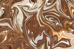 Upłynnia abstrakta wzór Z Brown, bielu I koloru żółtego grafika koloru forma sztuki, Cyfrowego tło Z Liquifying przepływem ilustracja wektor