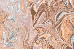 Upłynnia abstrakta wzór Z Brown, Popielatego I Koralowego grafika koloru forma sztuki, Cyfrowego tło Z Liquifying przepływem ilustracji