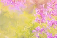 Upłynnia abstrakta wzór Z menchiami I Zielenieje grafika koloru forma sztuki, kolor żółty Cyfrowego tło Z Liquifying przepływem ilustracja wektor