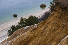 From up Above Looking Down. View from a cliff looking down at the ocean Royalty Free Stock Images