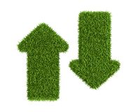 Up And Down Directed Arrows From Grass Royalty Free Stock Photos