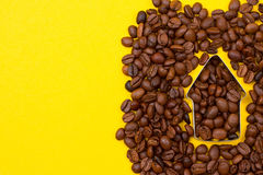 Up arrow of coffee beans stock photography