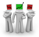 Up Arrow Among Down Arrows. One figure with a laptop head features an upward growth arrow while two others show down arrows Royalty Free Stock Photo