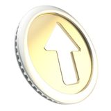 Up arrow icon emblem as golden coin token. Up arrow illustration icon emblem as shiny glossy golden coin token isolated on white background Stock Photography