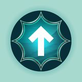 Up arrow icon magical glassy sunburst blue button sky blue background royalty free illustration