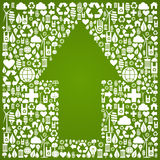 Up arrow symbol over green icons background Royalty Free Stock Photos