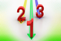 Up Arrows With 1 2 3 Numbers In Halftone Stock Photos