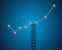 Up business graph and ladder concept Stock Photo