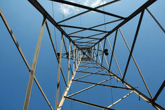 Up the cable tower Stock Images