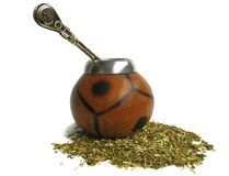 Сup from calabash and straw Stock Image