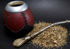 Сup from calabash with straw. Сup from calabash with yerba mate tea and straw Royalty Free Stock Images