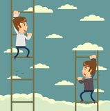Up the career ladder . Development motivation Career Growth Concept. Up the career ladder . Staircase Rests Against Blue Sky. Development motivation Career Royalty Free Stock Photography