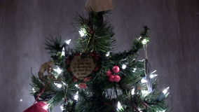 Up Christmas Tree Lights And Ornaments To Angel. Christmas Tree With Lights And Ornaments To Top stock video