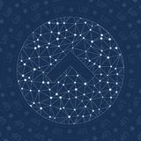 Up circle network symbol. Appealing constellation style symbol. Captivating network style. Modern design. Up circle symbol for infographics or presentation Royalty Free Stock Photos