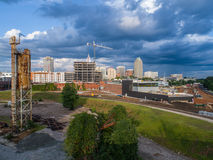 Raleigh City Skyline Still Photo by drone in North Carolina stock images
