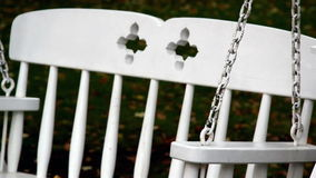 Up-close image of the bench swing stock video