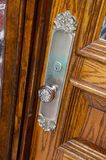 Up close image of n antique door knob stock photos
