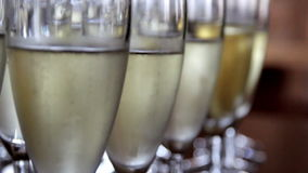 Up-close Image of the Sparkling Champagne glasses stock video