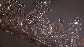 An up close image of a wedding crown in luxury Jewelry shop stock video footage